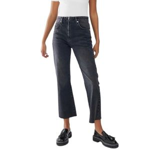 ASOS cropped flare jeans in washed black